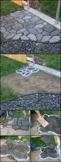 How To Make Your Own Cobble Stone Path http://theownerbuildernetwork.co/rapk Paths are not only functional in the garden, but can be decorative as well. If you're thinking of going for the cobblestone, having a stencil could make your project a lot easier!