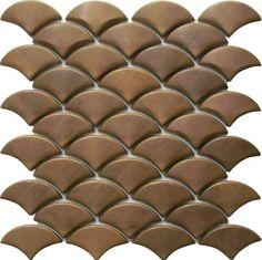 Copper Fan Shape Mosaic Tiles