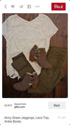 Olive Green jeans with a beige lace shirt including brown ankle boots for Fall.