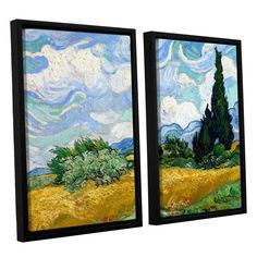 Wheatfield with Cypresses by Vincent Van Gogh 2 Piece Floater Framed Canvas Set