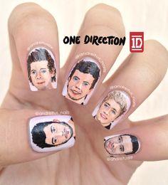 One Direction nail art. Nails. Zayn Malik, Harry Styles, Louis Tomlinson, Niall Horan, Liam Payne. NOTD