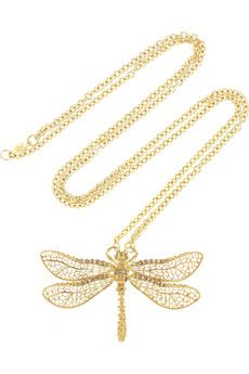 Alexander McQueen gold-tone Swarovski crystal dragonfly necklace.  I love the skull.