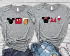 Disney drinking matching t shirts, Family Disney shirts, Disney coordinating shirts, Drink around world, Mickey and Minnie matching shirts *** Bella Canvas Unisex Tee *** [. Disney Vacation Shirts, Matching Disney Shirts, Disney Couples, Disney Shirts For Family, His And Hers Disney Shirts, Disney T Shirts, Disney Honeymoon, Camisa Do Mickey, Cute Disney Outfits