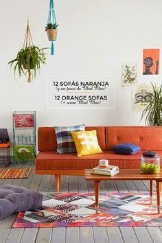 12 ideas para combinar un sofá naranja http://www.vintageandchicblog.com/2014/09/como-combinar-un-sofa-naranja-decoracion-sets-madmen-serie.html