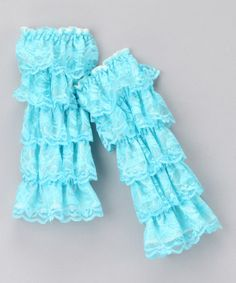 Take a look at this Aqua Lace Ruffle Leg Warmers by Head over Heels on #zulily today!