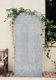 Rustic Seating Chart with Greenery Decor Rustic Seating Charts, Seating Chart Wedding, Wedding Table, Rustic Wedding, Wedding Greenery, Reception Table, Forest Wedding, Reception Ideas, Marie Claire