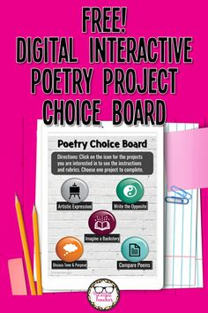 Mix it up in your high school ELA poetry unit with this interactive digital choice board for poetry activities! #teachingpoetry #ELA #choiceboard #remotelearning #TheLittlestTeacher English Teaching Resources, Writing Resources, Teacher Resources, Classroom Tools, Classroom Ideas, English Language, Language Arts, Digital Poetry, Poetry Projects