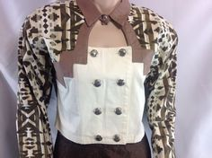 Vtg Country South Western Crop Shirt Keyhole neck Cowgirl Panhandle Slim Brown M