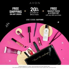 DEAL ALERT! Get FREE shipping on ANY order + 20% off your $45 order + a FREE Makeup Pouch & 8-piece Gift Set with your $60 order using code: GOTIME.  www.youravon.com/atodd #CyberMonday   #Avon #freewithpurchase #skincare #makeup #mascara #wideawake #lipliner #glimmersticks #truecolor #eyeshadow #eyeliner #beyondcolor #lipstick #beYOUtiful #fashion #bathandbody #beauty #costmetics #style #beautyproducts #sale #freeshipping