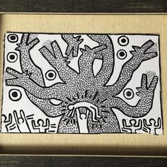 """Growing up around NYC in the late 80's early 90's energy in the city was raw and street art was everywhere.  Keith Haring's work resonated with me from a very early age.  A few years back I went through a phase obsessing over wood block printing and decided to give it a try with linoleum.. I saw his 'Untitled' in a review when the Brooklyn Museum did a retrospective and knew immediately it was what I wanted to recreate.  My version here is about 5x9"""". Haring's original is giant like 8x12'…"""