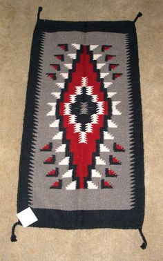 "A quality wool rug similar in design to those made by the Native American's of the southwest. 20x40"" w/ tassled corners  Can be used as a table topper or a decorative tapestry too! $39.95 #rug #tapestry #southwestern #homedecor"