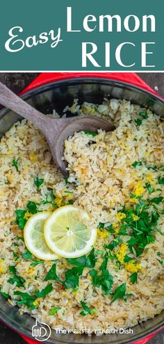 EASY Lemon Rice- This Greek style lemon rice is an easy side dish that pairs beautifully with many recipes! Onions, garlic, fresh lemon juice and herbs make this flavor packed recipe amazing! Rice Side Dishes, Greek Dishes, Side Dishes Easy, Side Dish Recipes, Food Dishes, Greek Lemon Rice Soup, Greek Lemon Chicken Soup, Greek Rice Pilaf, Lemon Herb Rice Recipe