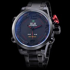 Black Dial aço banda relógio de pulso multi-funcional dos homens analógico-digital (cores sortidas) – BRL R$ 85,19