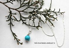 Turquoise And Silver Necklace  Delicate by TwoFeathersJewelry, $39.95 #turquoise #sterling #silver #minimalist #necklace #jewelry #sleepingbeauty #ValentinesDay #MothersDay