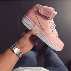 Light coral pink high top Air Force 1s