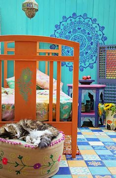 Janice Issitt Life Style Painters In Residence project for Annie Sloan. Moroccan bedroom, mandala, screen, bed and tiles all hand painted by Janice Morrocan Theme, Moroccan Bedroom, Stairway, Cottage Style, Art Pictures, Color Inspiration, Painted Furniture, Diy, Colours