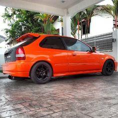 Orange Honda EK Ek Hatch, Orange Cars, Japanese Domestic Market, Honda Cars, Orange Is The New Black, Japanese Beauty, Honda Civic, Fast Cars, Jdm