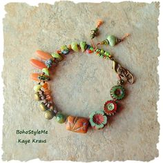 Boho+Beaded+Bracelet+Earthy+Rustic+Hippie+Beads+by+BohoStyleMe