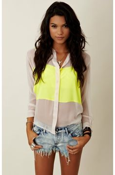 neon yellow and white sheer button up shirt, cutoff blue denim shorts