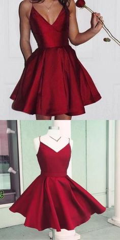Simple Spaghetti Strap Red Satin Homecoming Dresses, V-neck Homecoming Dresses, Cheap . - Simple Spaghetti Strap Red Satin Homecoming Dresses, V-neck Homecoming Dresses, Cheap Short - Cheap Hoco Dresses, Burgundy Homecoming Dresses, Dresses For Teens, Dance Dresses, Simple Dresses, Pretty Dresses, Sexy Dresses, Short Dresses, Prom Dress