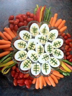Football-Themed deviled eggs featured on a veggie plate super bowl sunday, healthy superbowl Healthy Superbowl Snacks, Tailgating Recipes, Tailgate Food, Football Recipes, Grilling Recipes, Superbowl Party Food Ideas, Football Desserts, Healthy Grilling, Game Recipes