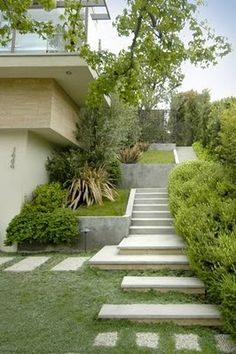 Concrete stairs and grass. Modern angles for mid-century style.