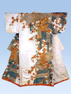 Kosode with design of plank bridges, cherry blossoms and Chinese characters Tie-dyeing and embroidery on white figured silk satin(rinzu)