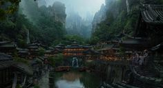 Japanese village by Dmitry Zaviyalov on ArtStation. Fantasy City, Fantasy Places, Fantasy World, Japan Village, Art Village, Japanese Mountains, Mountain Village, Matte Painting, Watercolor Paintings