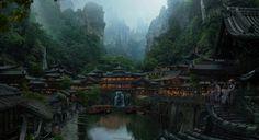 Japanese village, Dmitry Zaviyalov on ArtStation at http://www.artstation.com/artwork/japanese-village
