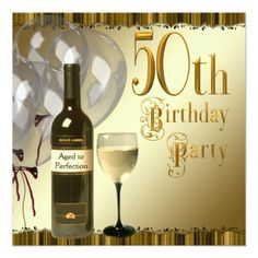 50th Birthday Party Invitations Wine Glass Bottle Black Gold 50th Birthday Party Card
