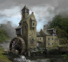 architecture, médieval, moulin - riviére