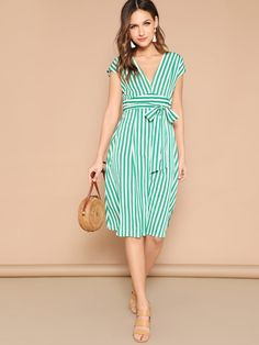 Green Boho Deep V Neck Mixed Striped Belted Midi Dress Women Summer Casual High Waist Batwing Sleeve ALine Dresses Size XS Color color as picture Belted Dress, Dress P, Striped Dress, Dress Outfits, Casual Dresses, Wrap Dress, Dresses For Work, Summer Dresses, Dress Clothes