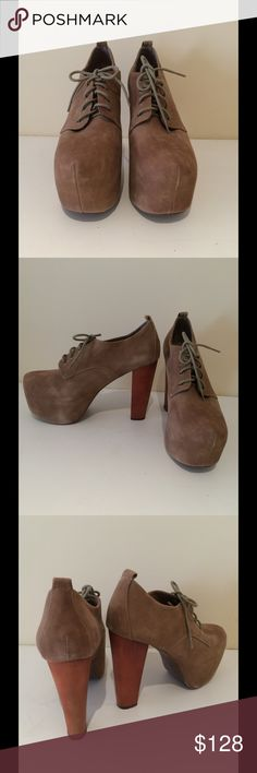 Jeffrey Campbell Fairlane Platform Taupe suede, lace up platform with chunky heel. Very comfortable! Worn very seldom, like new condition. By Jeffrey Campbell, comes with original box. Jeffrey Campbell Shoes Platforms