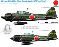Mitsubishi A6M5a Kou Zero Navy Aircraft, Aircraft Photos, Ww2 Aircraft, Fighter Aircraft, Military Aircraft, Fighting Plane, Old Planes, Imperial Japanese Navy, Aircraft Design