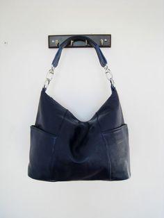 Jolie in Navyleather bags Adeleshop hobo laptop by Adeleshop, $145.00
