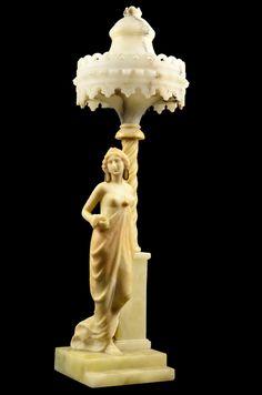 AN ANTIQUE FIGURAL ALABASTER LAMP WITH ALABASTER SHADE CIRCA 1920