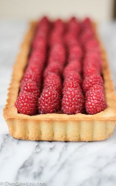 A light and flaky tart shell is filled with rich chocolate ganache and topped with fresh raspberries. This Raspberry Chocolate Tart is a stunner, and is actually easy to make! Chocolate And Raspberry Tart, Raspberry Ganache, Chocolate Cream, Chocolate Ganache, Chocolate Desserts, Tart Shells, Sweet Tarts, Cake Cookies, Food Processor Recipes