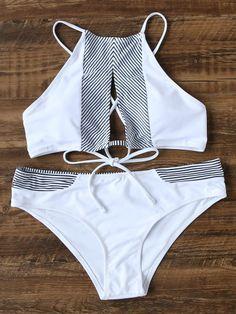 White Striped Detail Cutout Front Bikini Set