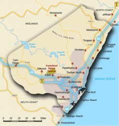 Map of eThekwini-Durban . Durban South Africa, Pretoria, Zulu, Footprints, Homeland, East Coast, Roots, Travelling, Cities