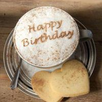 A Cappuccino Coffee with Happy Birthday written in chocolate on the. Coffee Latte Art, I Love Coffee, Coffee Cafe, Coffee Break, Coffee Shop, Men Coffee, Cappuccino Coffee, Decaf Coffee, Coffee Lovers