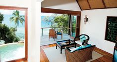 Villa Living Room areas extend to the outdoors at Royal Davui Island Resort, and you're always just steps from the water. Luxury Travel Advisor - August 2014