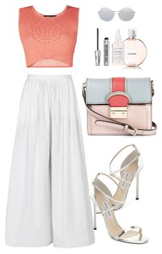 """""""Boats"""" by mttakes ❤ liked on Polyvore featuring Jimmy Choo, BCBGMAXAZRIA, The Row, RED Valentino, Chanel, Linda Farrow and Bare Escentuals"""