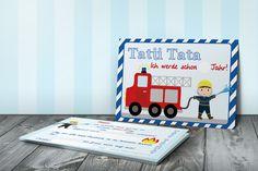 Einladungskarten - 5 Einladungskarten Feuerwehr  - ein Designerstück von NiKidz bei DaWanda
