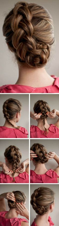 braided updo- I did this off to the side of my head, following my hairline from one ear to the bun being at the other. Super cute and easy!