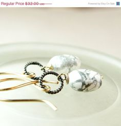 SALE 20 Howlite     Earrings      Mixed Metal Jewelry by Hildes, $25.60