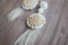 Embroidery earrings, White and beige earrings, Wedding earrings, Beaded earrings, Dangle earrings, FREE SHIPPING