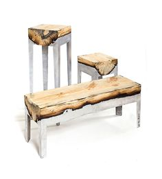 MODULAR FURNITURE MADE FROM WOOD AND MOLTEN METAL