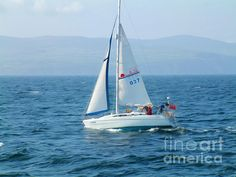 Sailing across the Irish Sea with Isle of Man in the background. This artwork is available through Fine Art America as a print.
