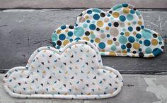 Cloud Coasters - Fabric Clouds - Fabric Coasters - Mug Rugs - Snack Mats - Geometric Print Fabric - Set of 2 Coasters by TheCornishCoasterCo on Etsy