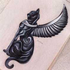 Egyptian Cat Tattoo Design - Beautiful Egyptian cat with wings. Style: Black and Gray. Egypt Tattoo Design, Cat Tattoo Designs, Egyptian Cat Tattoos, Egyptian Cats, Cover Up Tattoos, Tattoo Drawings, Bastet Tattoo, Bug Tattoo, Goddess Tattoo